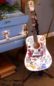 Jesse's guitar on display at his funereal.